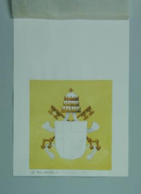 Watercolour, Papal Coat of Arms - artist Robert Ingpen 2002,  MCC Tapestry no.155; Artwork; M10418