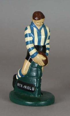 Plaster figure, North Melbourne FC footballer c1957; Domestic items; 1990.2297.9