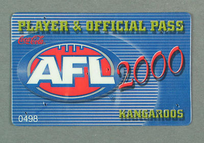 Player & Official Pass, AFL 2000 Season - Kangaroos; Documents and books; M10097.1