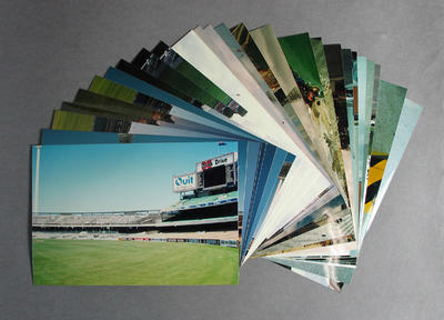 Twenty-six photographs, depicting demolition of Southern Stand & construction of Great Southern Stand c1990
