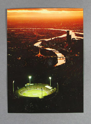 Two postcards, images depict MCG under floodlights for 1985 World Cricket Cup
