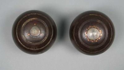 Set of two lawn bowls, used by James McGregor Gillespie c1920s