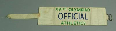 1956 Olympic Games Athletics Official armband worn by Arthur Lonnquist