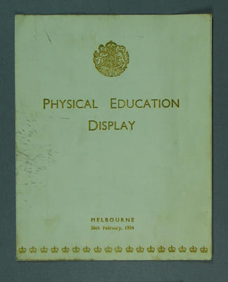 Programme for Children's Physical Education Display at Melbourne Cricket Ground, 1954