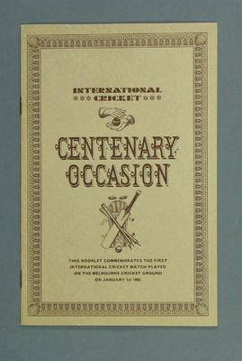 Booklet, commemorating First International Cricket match played at MCG - 1 Jan 1862; Documents and books; M14595