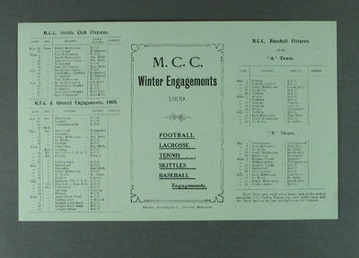 Fixture card, MCC Winter Engagements 1909