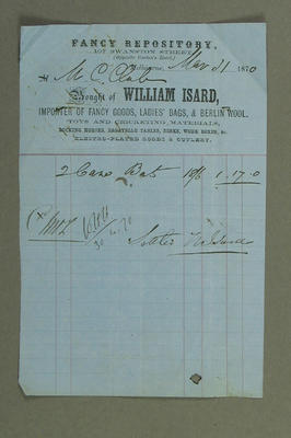 Receipt issued to Melbourne Cricket Club, purchase of cricket bats - 1870