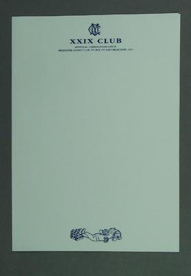 Two sheets of letterhead, Melbourne Cricket Club - XXIX Club