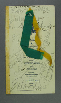 Menu, Victorian Lacrosse Association Complimentary Dinner for Canadian Team 1907
