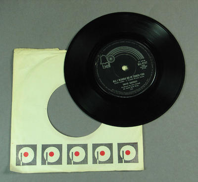 """Black vinyl 7"""" single recorded by David Cassidy 'All I wanna do is touch you' and 'Cherish'"""