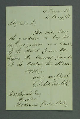 Letter addressed to W C Biddle from R W Wardill, resigning from MCC Match Committee - 1865; Documents and books; M14601
