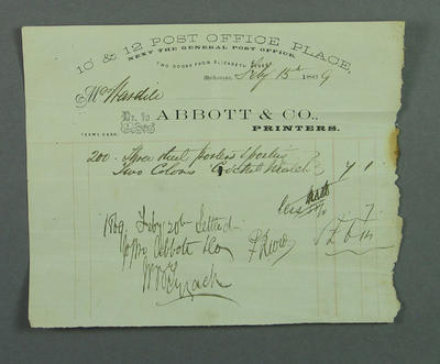 Receipt issued to Melbourne Cricket Club, Abbott & Co Printers - 15 Sept 1869