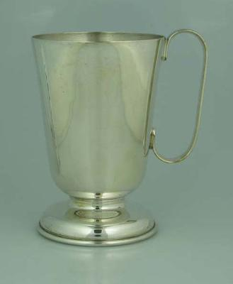 Unmarked trophy, silver tankard with handle