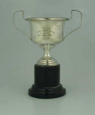 Trophy awarded by YMCA Volleyball to Allan Hughes, 1933