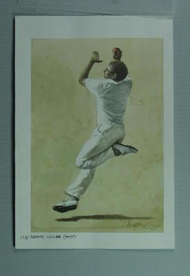 Watercolour, Dennis Lillee, by artist Robert Ingpen 2002, MCC Tapestry no 134; Artwork; M10397
