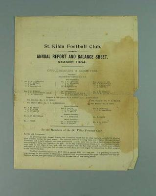 St Kilda FC Annual Report, season 1904