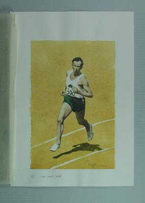 Watercolour, John Landy, by artist Robert Ingpen 2002, MCC Tapestry no.96