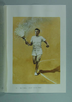 Watercolour, Ron Clarke carrying the Olympic torch, by artist Robert Ingpen 2002, MCC Tapestry no.97