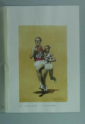 Watercolour, Vladimir Kuts at 1956 Melbourne Olympic Games, artist Robert Ingpen 2002, MCC Tapestry no.100