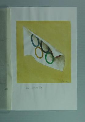 Watercolour, Olympic flag, by artist Robert Ingpen 2002; Artwork; M10360