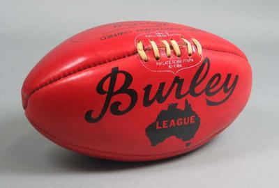 Unused red Burley football, c1987