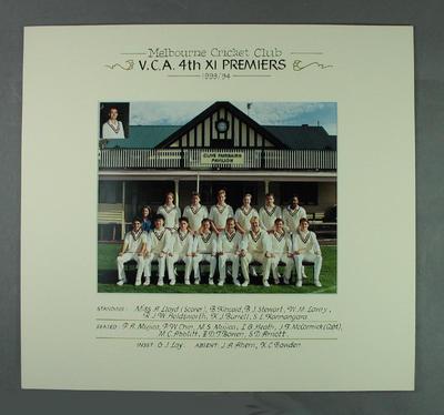 Photograph of Melbourne Cricket Club team, VCA 4th XI Premiers 1993-94
