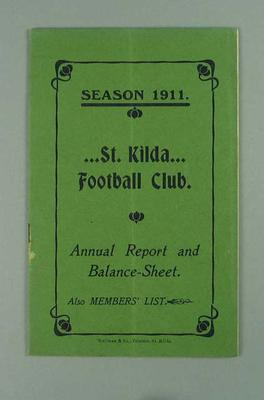 St Kilda FC Annual Report, season 1911