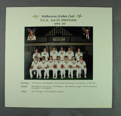 Photograph of Melbourne Cricket Club team, VCA 3rd XI Premiers 1995-96