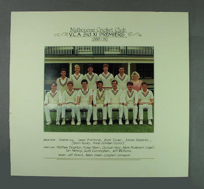 Photograph of Melbourne Cricket Club team, VCA 3rd XI Premiers 1989-90; Photography; M14718.1