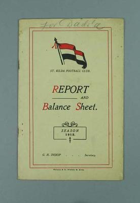 St Kilda FC Annual Report, season 1912
