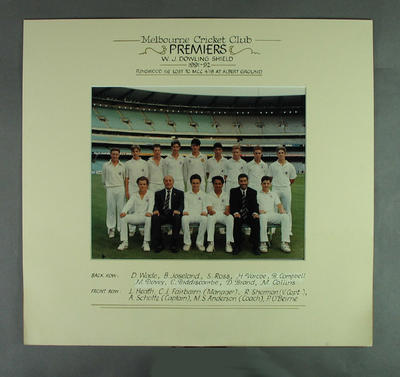 Photograph of Melbourne Cricket Club team, W J Dowling Shield Premiers 1991-92; Photography; M14713