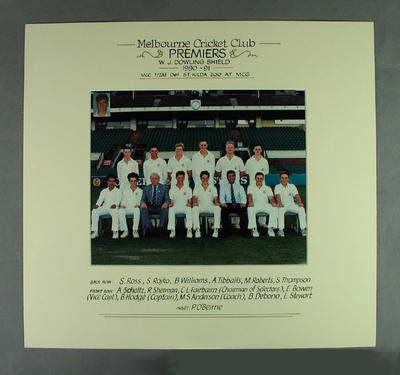 Photograph of Melbourne Cricket Club team, W J Dowling Shield Premiers 1990-91; Photography; M14712.2
