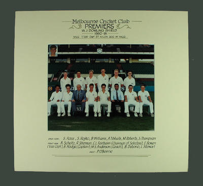 Photograph of Melbourne Cricket Club team, W J Dowling Shield Premiers 1990-91; Photography; M14712.1