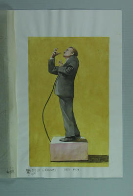 Watercolour, Billy Graham Crusade at the MCG March 1959, by artist Robert Ingpen, MCC Tapestry no 105; Artwork; M10369