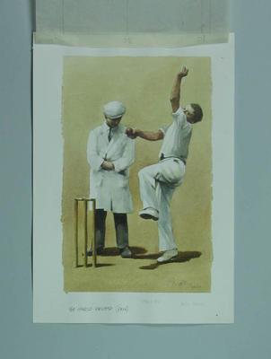 Watercolour, H Larwood & umpire F I Walden, by artist Robert Ingpen 2001, MCC Tapestry no.61; Artwork; M10324