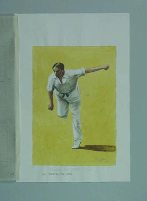 Watercolour, Maurice W Tate, by artist Robert Ingpen 2001, MCC Tapestry no.60; Artwork; M10323