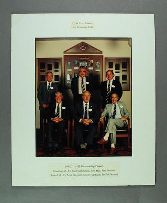 Photograph of 1951/52 VCA Premiership Players, 150th MCC Year Dinner - 16 Feb 1988