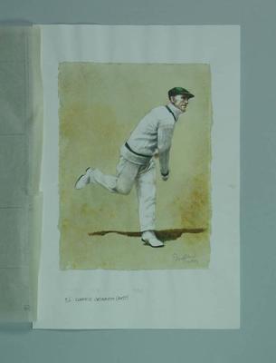 Watercolour, Clarrie Grimmett, by artist Robert Ingpen 2001, MCC Tapestry no.56; Artwork; M10319