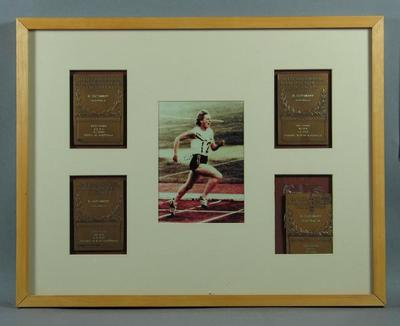 Framed IAAF World Record plaques, awarded to Betty Cuthbert c1956-58