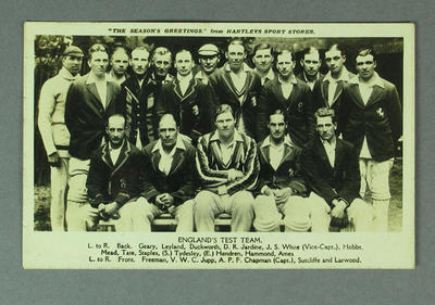 Postcard, England Test team - 1928/29; Documents and books; M9732