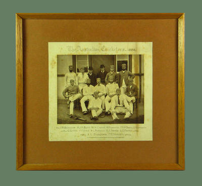 """Sepia photograph, """"The Australian Cricketers 1884""""; Photography; Framed; 1996.3199"""