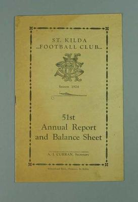 St Kilda FC Annual Report, season 1924