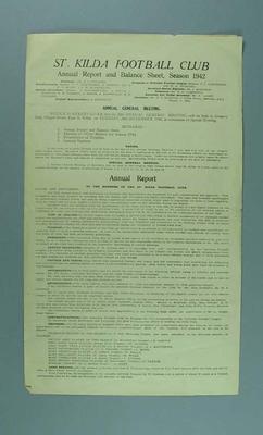 St Kilda FC Annual Report, season 1942