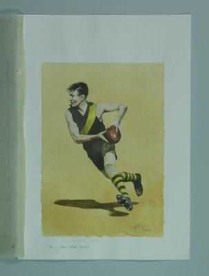 Watercolour, J R 'Jack' Dyer, by artist Robert Ingpen 2002, MCC Tapestry no.74; Artwork; M10336