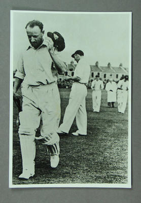 Photograph of Don Bradman, leaving the field at Mannofield Park - 18 Sept 1948
