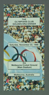 Brochure, The Olympians Club Golden Era Dinner - MCG, 22 November 1986