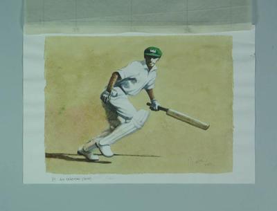 Watercolour, Don Bradman, by artist Robert Ingpen 2001, MCC Tapestry no.57; Artwork; M10320