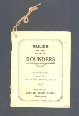 "Booklet, ""Rules of the game of Rounders"""
