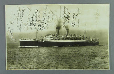 Photograph of RMS Otranto, autographed by members of Australian XI - 1926