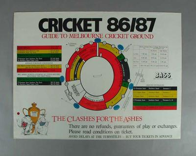 Posters, advertising Australia v England Test tickets - 1986/87 Ashes series
